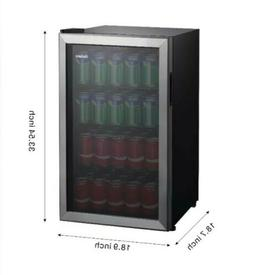 110 Can Beverage Mini Fridge Stainless Glass Door Freestandi
