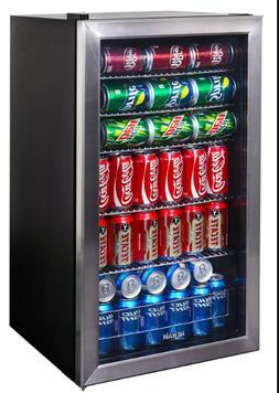 126 Can Stainless Steel Beverage NewAir Cooler Glass Door Fr
