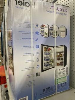 Haier 2.7 CF Mini Fridge Refrigerator/Freezer, Silver Finish