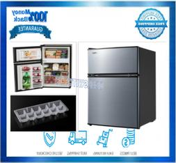 2 Door Mini Fridge With Freezer Light 3.2 CU FT Stainless St