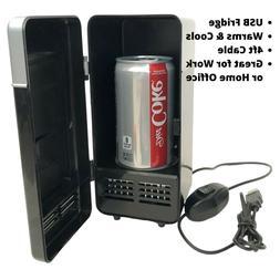2 In 1 Desktop Mini Fridge USB Gadget Beverage Cans Cooler W