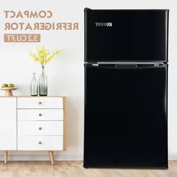 3.2 Cu.Ft Double Door Compact Refrigerator Top Freezer Coole