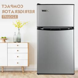 3.2 Cu.Ft Stainless Steel Double Door Mini Compact Refrigera