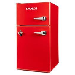 Compact Double Door Mini small Fridge Freezer Red 3.2 cu. ft