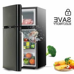 3.2 Cu.Ft Compact Refrigerator 2-Door Small Mini Fridge Top