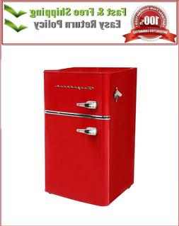 3.2 Cu.Ft Retro Mini Fridge 2-Door Compact Small Refrigerato