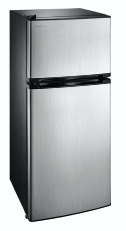 4.3 Cu Ft Mini Fridge Freezer 2 Door Stainless Steal Small C