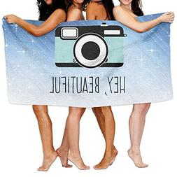 Qyahooshy Bath Towel Camera Hey Beautiful Custom Lightweight