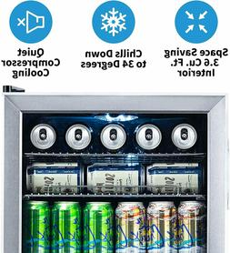 NewAir Beverage Cooler and Refrigerator, Mini Fridge with Gl
