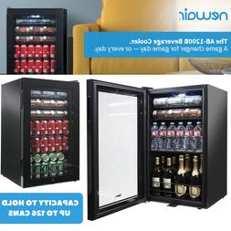 Black Mini Fridge Beverage Cooler With Glass Door & Capacity