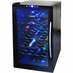 Blue Illuminated 28 Bottle Thermoelectric Wine Cooler, Black