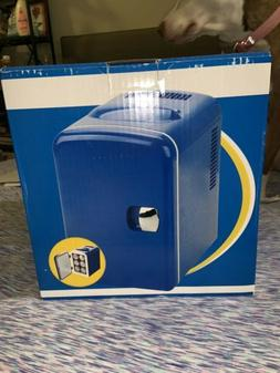 Blue Thermoelectric Mini Fridge 6-can portable Cooler/Warmer