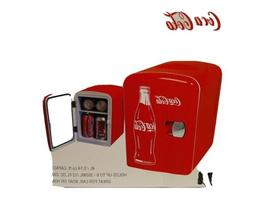 Coca Cola 6 Can Portable Mini Fridge Cooler W/ AC And DC Plu