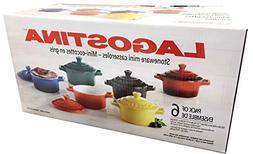 Colorful Stoneware Mini Casserole Pots With Lids - Set of Si