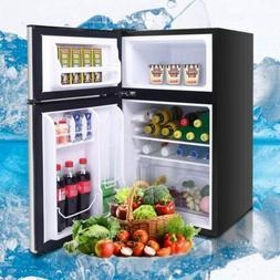 double doors compact mini refrigerator freezer cooler