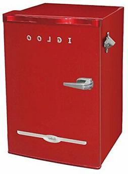 Igloo FR376-RED Retro Bar Fridge with Side Bottle Opener, 3.