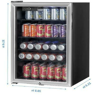 150-Can Glass Portable Dorm Mini Refrigerator Beverage Cool