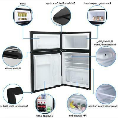 3.2 Cu Steel 2-Door Fridge Freezer Compact
