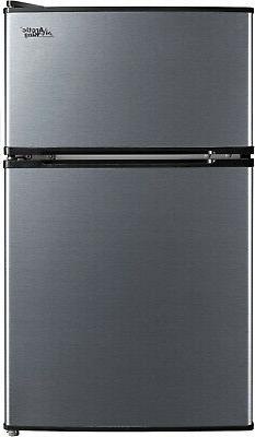 3.2Cu Ft Two Door Mini Fridge With Freezer Stainless Steel E