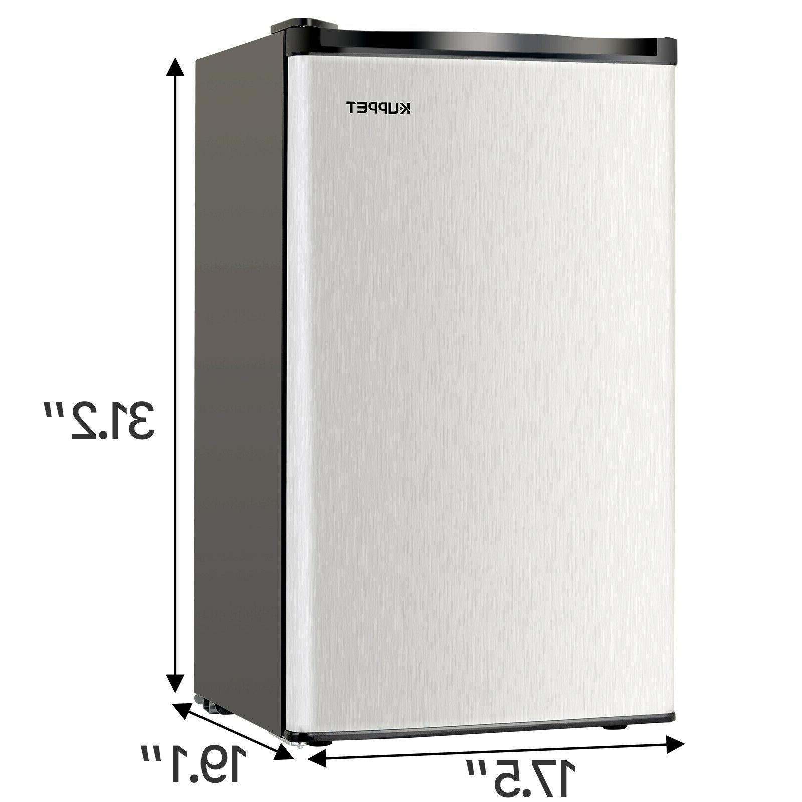 3.2 FT Mini Refrigerator Compact Fridge Stainless Freestanding