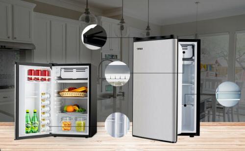 3.2 Mini Refrigerator Compact Black Silver