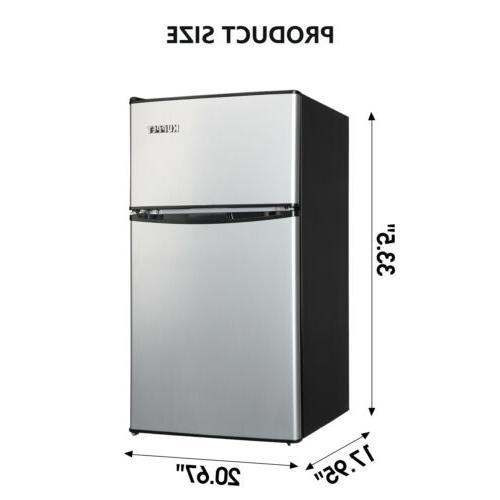 3.2 Cu Ft Stainless Steel 2-Door Mini Freezer Refrigerator