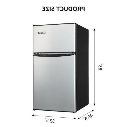 3.2 Ft Stainless Steel Mini Fridge Freezer Compact New