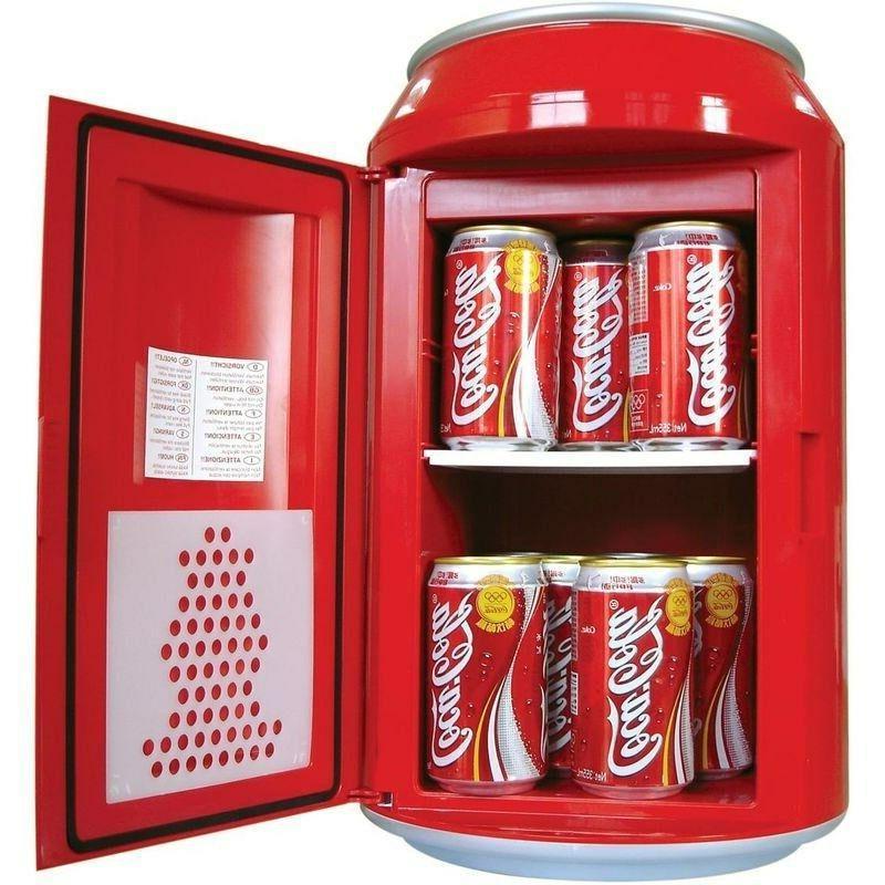 Compact Coca-Cola Can Refrigerator, Mini Countertop Coke Retro Gift Fridge