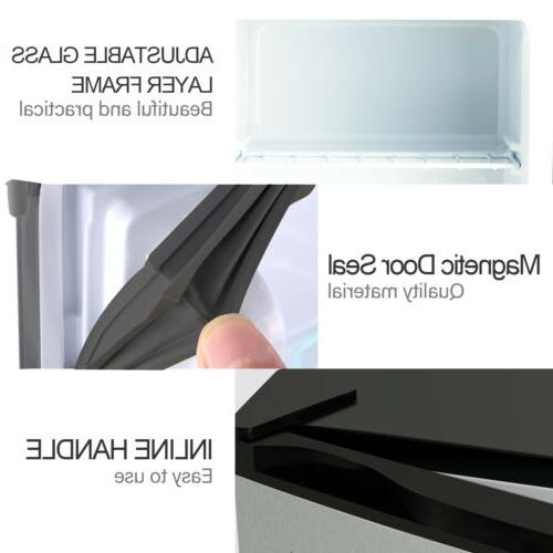Compact Freezer Fridge Small Refrigerator Steel CuFt