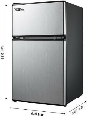 3.2 Mini Fridge 2-Door Refrigerator Black/Stainless Steel