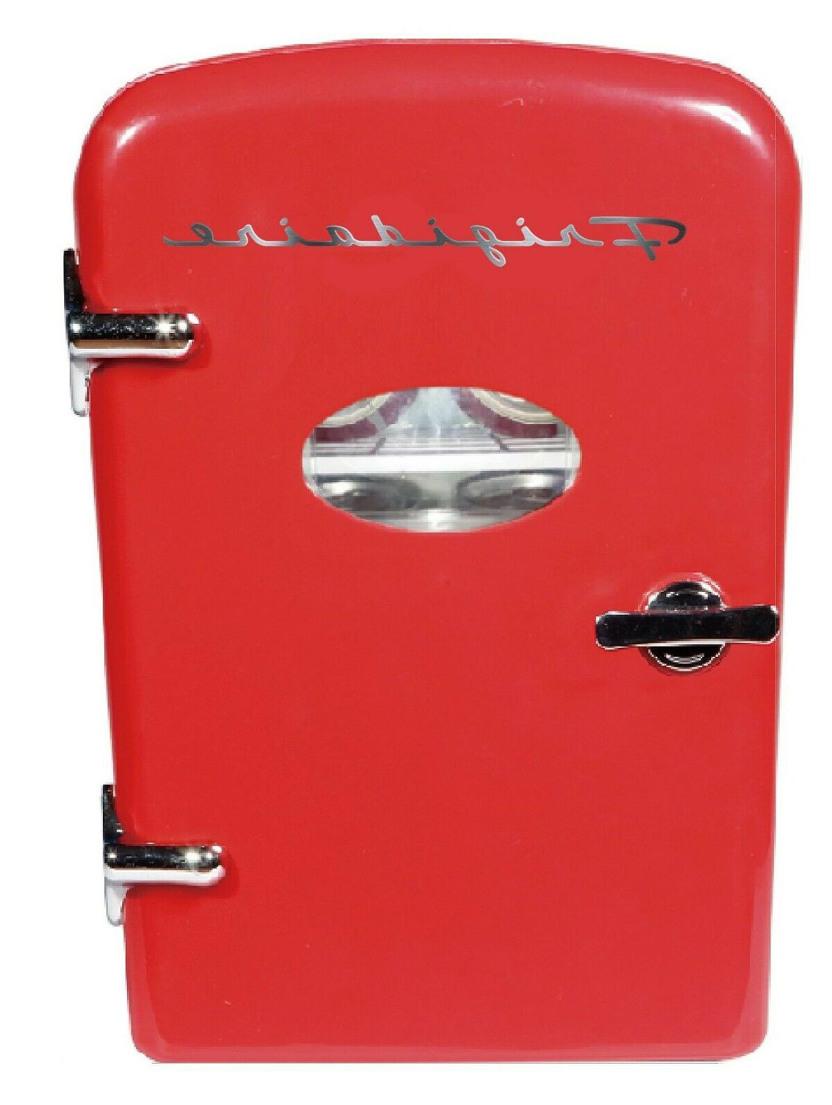 Retro Mini Fridge 6-Can Portable Compact Refrigerator Store