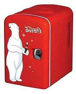 Koolatron KWC-4 Coca-Cola Personal 6 Can Mini Fridge Red Whi