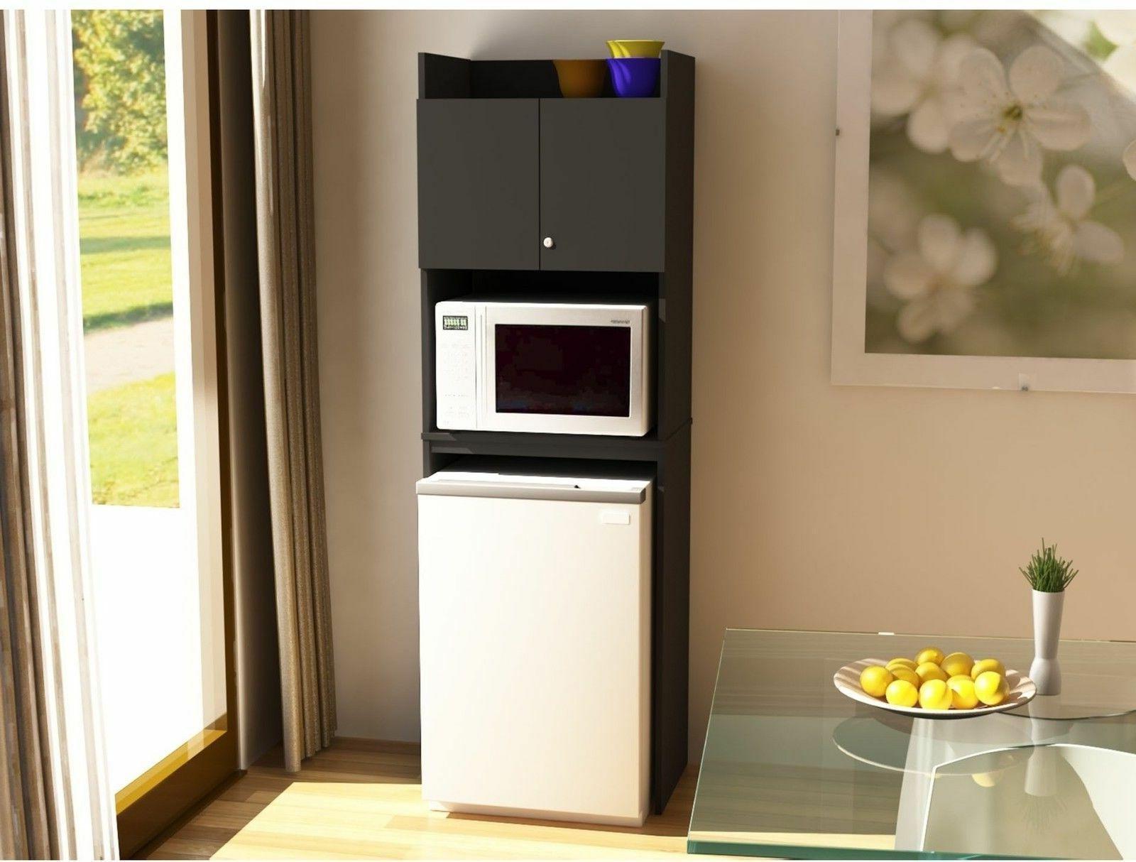 Mini Fridge Storage Cabinet Microwave Dorm Cart Space Saver