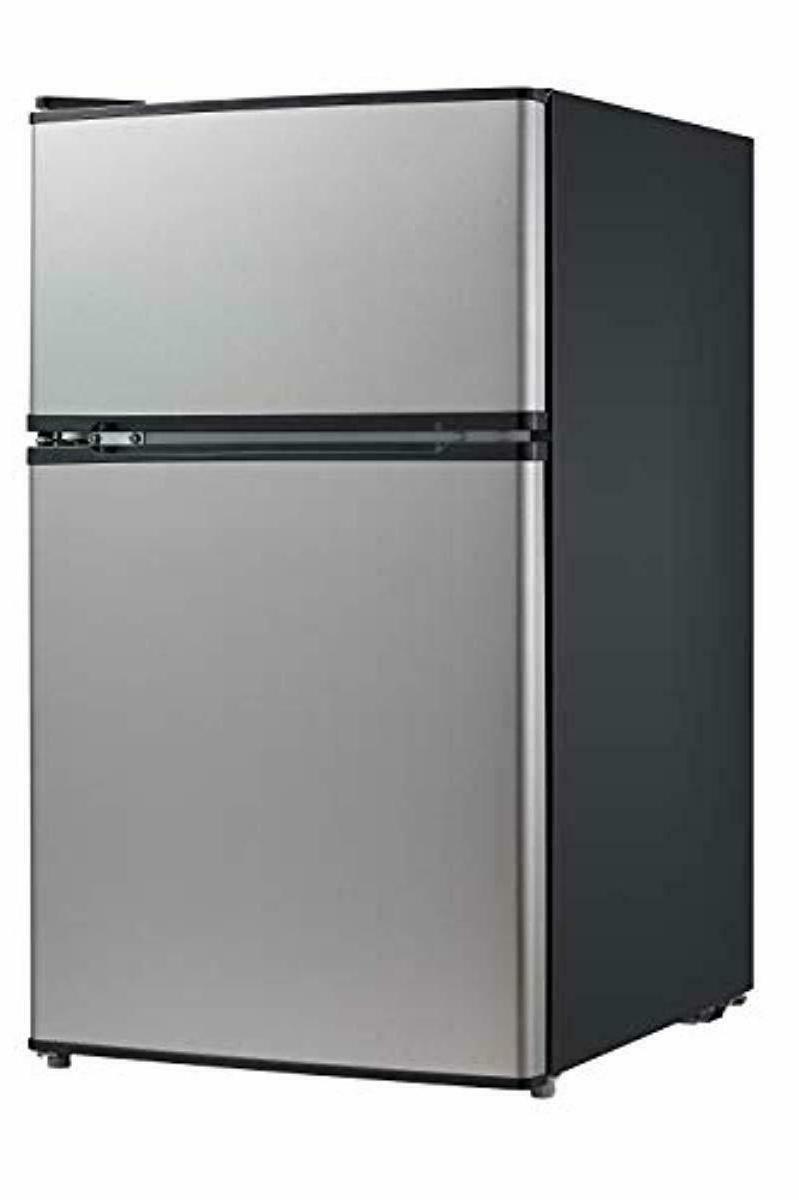 mini fridge with freezer double door top