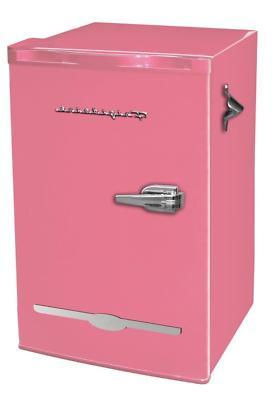 New 3.2 Cu. Ft. Pink Retro Mini Fridge Compact Refrigerators
