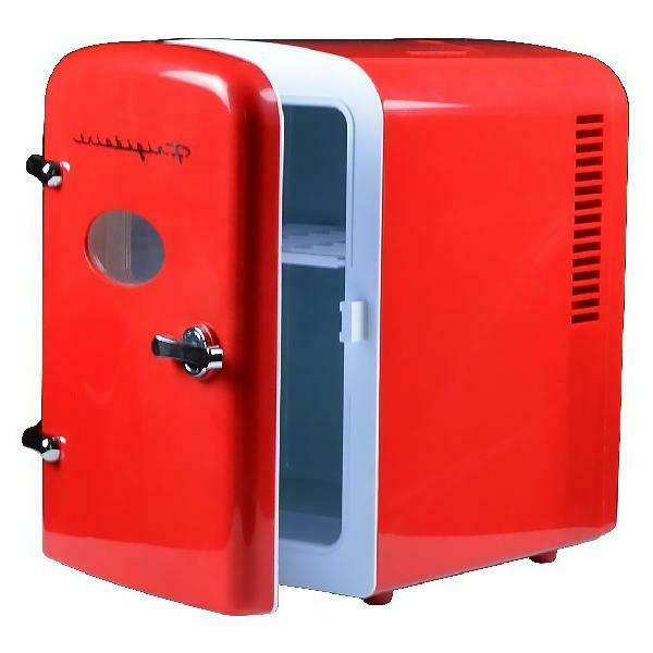 portable retro 6 can mini compact refrigerator