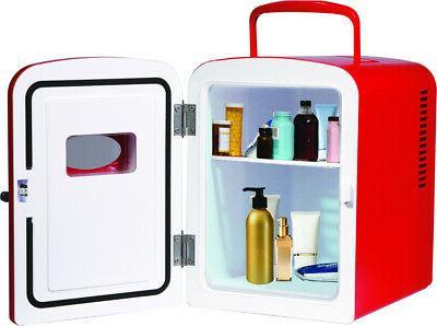 Retro Mini Fridge 6-Can Portable Compact Refrigerator Store Snacks
