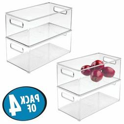 mDesign Deep Stackable Plastic Kitchen Storage Organizer Con