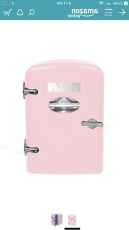 RCA Mini Compact Beverage Refrigerator, 6-Can, Pink RMIS129