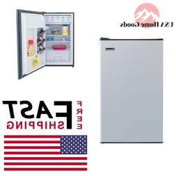 Mini Fridge 3.3 Cu Ft Stainless Look Compact Size Home Offic