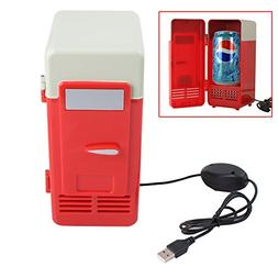 Tenflyer Mini USB Fridge Cooler Beverage Drink Cans Cooler/W