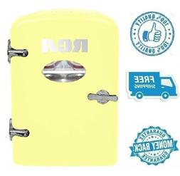 New 4L Yellow Portable Retro 6 Can Mini Fridge Soft Drink Co