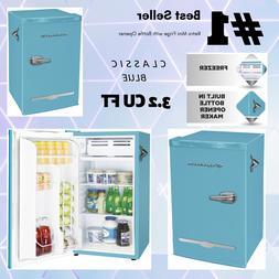 New BLUE 3.2 Cu Ft Retro Mini Fridge Compact Refrigerator Sm