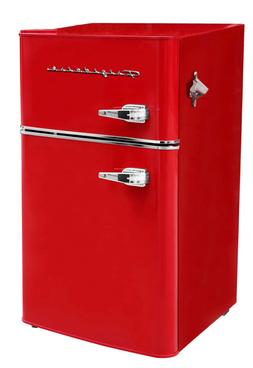 New Red 3.2 Cu Ft Retro Mini Fridge 2 Door Freezer Refrigera