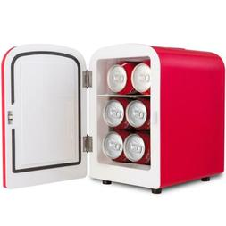 Costway Portable Mini Fridge Cooler And Warmer Red 6 Cans 4L