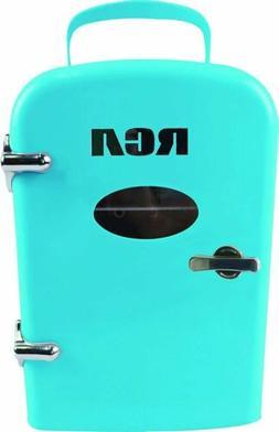 RCA Portable Mini Retro 6 Can Beverage Fridge RMIS129-Blue