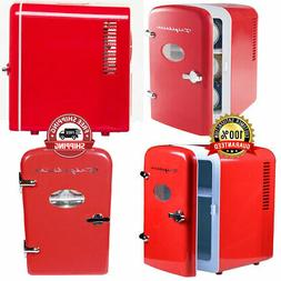 Portable Retro Design 6-Can Mini Fridge Refrigerator Compact