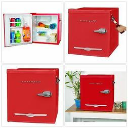 Retro Mini Fridge With Bottle Opener Red Portable Tabletop F