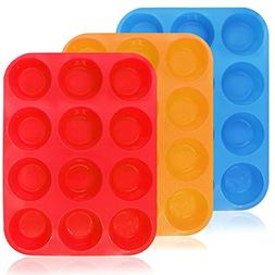 12-Cup Silicone Muffin & Cupcake Baking Pan, YuCool 3 Pack S
