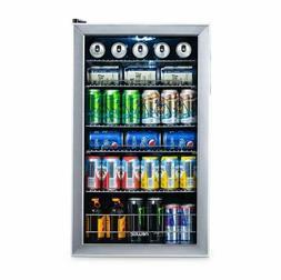 Stainless Steel Beverage Cooler Drinks Fridge Refrigerator W